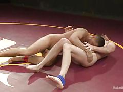 Taking a cock in the mouth after wrestling