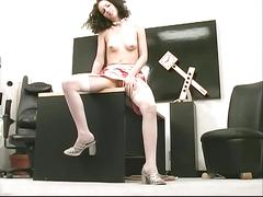 masturbation, milfs, brunettes, tits, sex toys, nylon