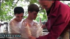 Free latino teen boy feet gay porn pledges in saran wrap bobbing for dildos and