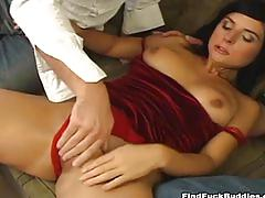 Fine brunette gets double penetrated by two big cocks