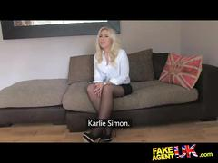 Fakeagentuk mistaken job interview for sexy blue eyed blonde girl