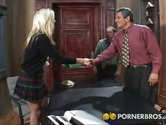 Older guy satisfied by a young blonde