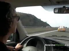 Exhib nip sur l autoroute en cam2cam avec un fan en francais