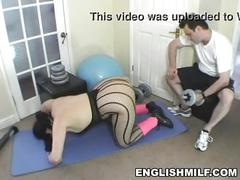 Big ass english milf big butt workout in pantyhose