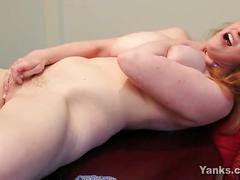 Busty redhead chloe fingering her pussy