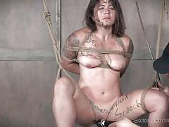 milf, bdsm, whipping, domination, crying, vibrator, brunette, suspended, rope bondage, real time bondage, tess dagger