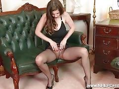 Babe big natural titties fucks big toy in nylon pantyhose