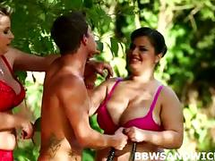 Outrageous bbw threesome orgy outdoors