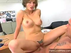 Hot milf gets fucked in the office ,  nice boobs