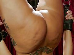 Kinky mistress whipping a big ass brunette milf