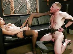 Asian tranny goddess dominates her male slave