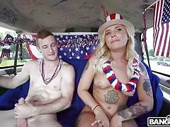 blonde, handjob, babe, backseat, for money, tattooed, big dick, car sex, pick up, boobs groping, bang bus, bangbros network, brick danger, stella raee