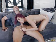 Tattooed redhead lady sucking on my hard pole