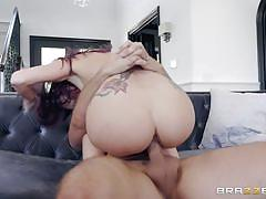 Tattooed redhead lady sucking on my hard pole