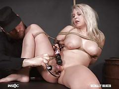 Busty blonde is truly enjoying this pussy torture