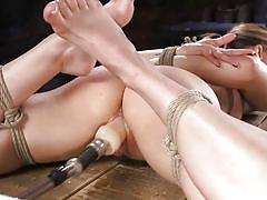 Tightly bound and fucked by the machine