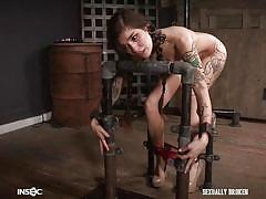 Bondage slave sucks cock