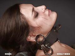Bondage slave sucks cock