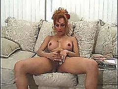 Hot girl stroking her dick