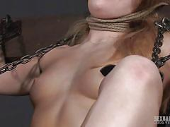 bdsm, babe, torture, redhead, handcuffed, fingering pussy, bondage device, in chains, sexually broken, kate kennedy