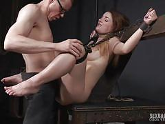 Sexy ginger bound and banged