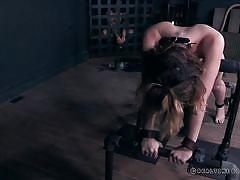 Teasing a brunette's pierced pussy lips