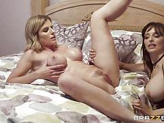 milf, blonde, lesbians, big tits, lesbian strapon, pussy licking, fingering, brunette, from behind, hot and mean, brazzers network, cory chase, lexi luna