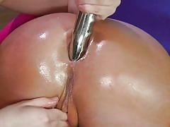 Blonde babe getting ass fucked by a brunette lesbian