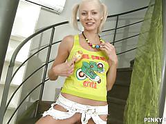 blonde, babe, slim, masturbation, natural tits, stairs, pony tails, hair brush, pinky june, pinky june