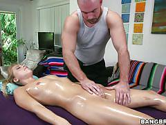 Oiled blonde blows hard