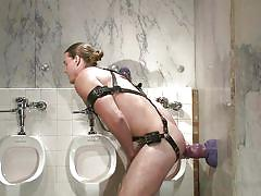 Hunk sex toy gets his ass destroyed in a public bathroom