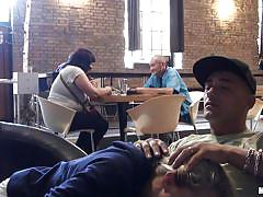 teen, blonde, handjob, public, blowjob, coffee shop, hoodie, mofos b-sides, mofos network, christen courtney