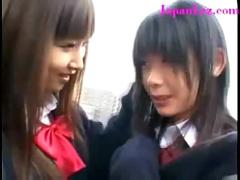 Lesbian schoolgirls experiment on each other