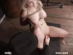 Rope tied blonde with big tits getting teased and tortured