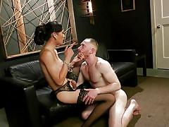 Gay guy seduced by beautiful brunette shemale