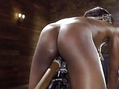 milf, bdsm, ebony, interracial, domination, dildo, vibrator, from behind, nipple clamps, metal bondage, device bondage, kink, ana foxxx