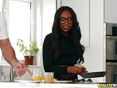 black, babe, interracial, big cock, glasses, blowjob, big booty, under table, dining table, round and brown, reality kings, jmac