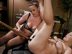 Blonde sex slave fucked by busty brunette mistress