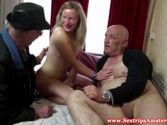 Blonde dutch whore swallows his cum