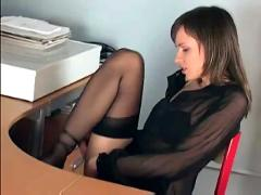 stockings, pussy, panties, brunette, skinny, desk, finger, lingerie, office, masturbate