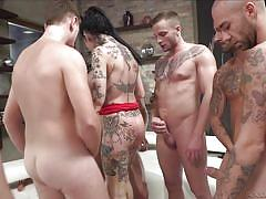 Megan inky versus six horny guys @ rocco siffredi hard academy #04