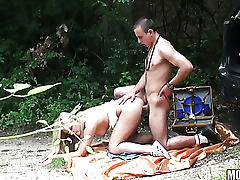Secret sex in the woods with superb blonde