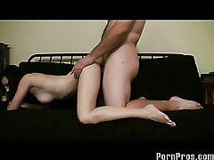 Skinny big boobed amateur gets fucked!