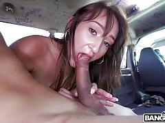 babe, big cock, blowjob, picked up, for money, brunette, car sex, pussy rubbing, bang bus, bangbros, derrick ferrari, carmen rae