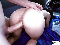 babe, big cock, picked up, bubble butt, for money, brunette, from behind, car sex, cock riding, bang bus, bangbros, jmac, gabriela lopez