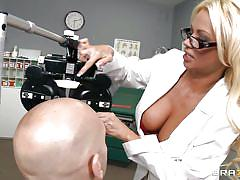 milf, blonde, heels, big tits, glasses, doctor, tattooed, nice tits, red panties, squeezing tits, lick tits, nikita von james, johnny sins, doctor adventures, brazzers, jugg cash