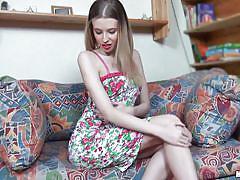 Teen blonde pleasures herself