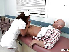 Hot french doctor starts sucking cock