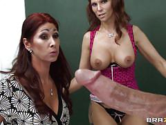 Lucky guy having blowjob from two milf!
