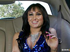 Slutty brunette sucks drivers cock